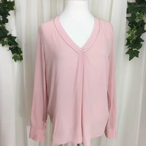 J. Crew blush pink long sleeve vneck blouse